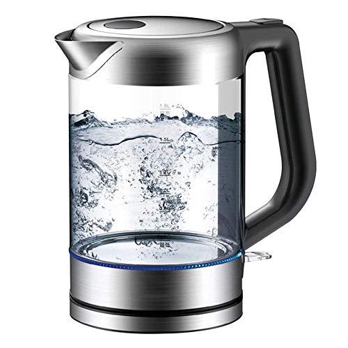 SCXY Hervidor eléctrico de Vidrio, hervidor de Control de Temperatura 1.8L Luz de luz LED, Caldera de Agua inalámbrica, Auto Apagado, 100% BPA Gratis, hervidor de Agua para café, té, Espresso, 1800w