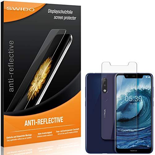 SWIDO Schutzfolie für Nokia 5.1 Plus [2 Stück] Anti-Reflex MATT Entspiegelnd, Hoher Festigkeitgrad, Schutz vor Kratzer/Folie, Bildschirmschutz, Bildschirmschutzfolie, Panzerglas-Folie