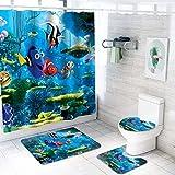 GEHIYPA 4-teiliges Badezimmer-Duschvorhang, rutschfeste Badematte, inklusive quadratischer rutschfester Bodenmatte, U-förmiger Matte, WC-Deckelbezug, & ein Duschvorhang (4-teilig)