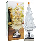 DRomance Swirling Glitter Christmas Tree with Music, LED Light-up X-mas Tree Music Snow Globe, Battery Operated and USB Cord Christmas Tree Table Decoration Light, Christmas Decoration