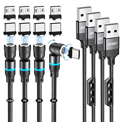 Schnellladendes Magnetisches Ladekabel, JEEREE 3A-Schnelllade-und Datenübertragungs-Magnetkabel [4Stück 0.5m+1m+2m+3m] 360°&180° Rotierendes Magnet USB Kabel Kompatibel mit Typ C Micro-USB - Schwarz