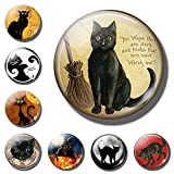 10pc los amantes del gato 30MM imán Gato Negro Cita con la escoba de la bruja de cristal cabujón magnética nota del sostenedor del refrigerador Etiqueta Decoración Pegatina