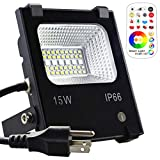 MELPO 15W Waterproof LED Flood Light with Remote and US 3-Plug, RGB & Cool White & Warm White