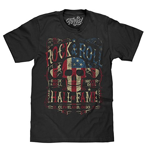 Tee Luv Rock and Roll Hall of Fame T-Shirt - American Flag Skull Shirt (Medium) Black