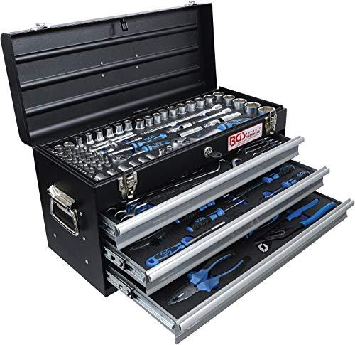 BGS 3318 | Metall-Werkzeugkoffer | mit 143 Werkzeugen | 3 Schubladen | mit Werkzeug gefüllt