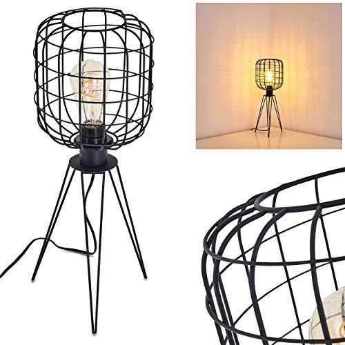 Tafellamp Flambeau van metaal in zwart, tafellamp op statief m. Lampenkap in kooi-optiek, 1x E27 max. 60 Watt, lamp in retrodesign w. raster en aan/uit schakelaar op de kabel, LED geschikt