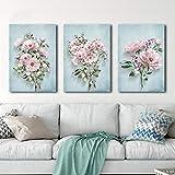 Vintage Pink Rose Bouquet Fondo azul Carteles de flores Impresiones Arte de la pared Pintura en lienzo Cuadros decorativos para el hogar para vivir m