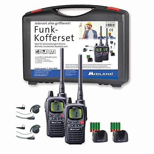Midland G9 Pro AL206.S4 - Juego de 2 walkie-talkies Impermeables y con botón de Emergencia, Alta Potencia de transmisión