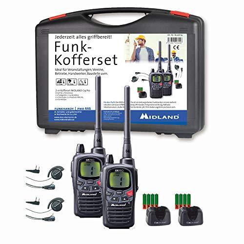 Midland G9 Pro Funkgeräte-Kofferset, AL206.S4, 2 x Walkie Talkies, wasserdicht und mit Notfallknopf, hochwertige Qualität mit sehr hoher Sendeleistung