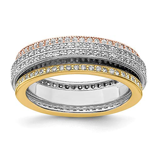 925 Sterling Silver Tri Color Yellow White Gold Eternity Motion Band Ring Size 7.00 Fine Jewelry For Women Gifts For Her