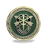 The size is 1.57 inch(40mm) in diameter and 0.11 inch(3mm) in thick The material is iron with antique bronze plated Motto: De oppresso liber. Their quality is faithful and True This challenge coin one side is the Green Beret insignia and the other si...