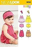 New Look 6293Größe A Baby 'Strampler/Kleid/Höschen und Haarband Schnittmuster, Mehrfarbig