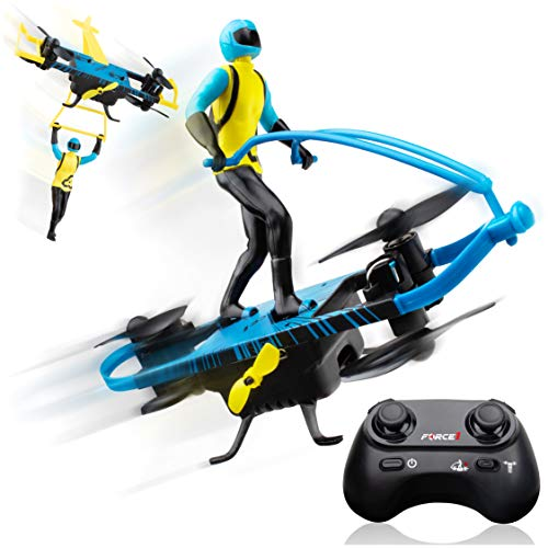 Force1 Stunt RC Mini Drone for Kids – Remote Control Flying Toys for Kids with Paraglider and Hover Modes, Action Figure