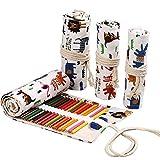 Lona Coloured Pencil Roll Wrap 36 Slot, Multiuso Roll Up Pencil Case grande lápiz cortina para colorear lápiz organizador regalo de Navidad (Animales)