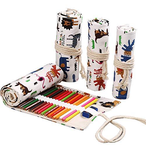 Canvas Coloured Pencil Roll Wrap 36 Slot, Multiuse Roll Up Pencil Case Großer Stift Vorhang zum Färben Bleistifthalter Organizer, Weihnachtsgeschenk, (Schöne Tiere)