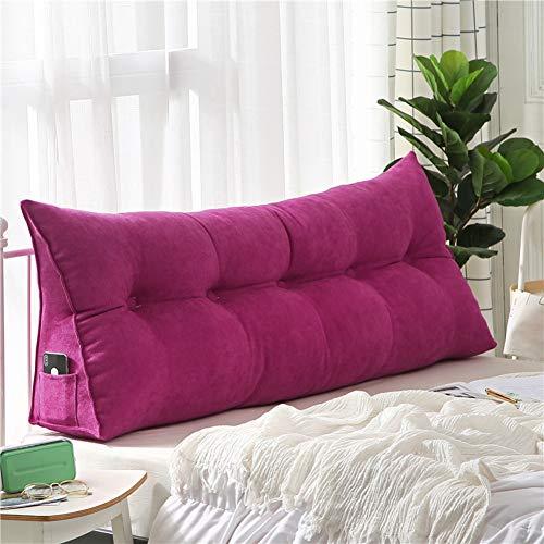 Z IMEI Almohada triangular de cuña acolchada suave cabecero tapizado, respaldo de cama grande apoyo, apoyo de lectura almohada con funda extraíble lavable para adultos y niños, rojo rosado, 20x50x60cm(8x20x24inch)