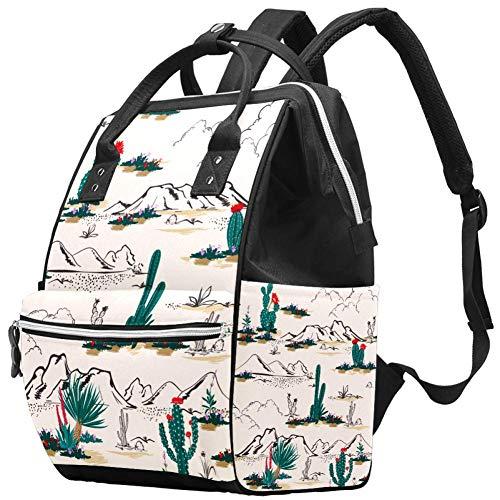 Summer Cactus in the Desert Sac à dos de voyage multifonction avec imprimé cactus dans le désert, grande capacité, sac d'allaitement, sac pour maman