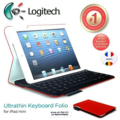 Logitech Ultrathin Keyboard Folio Case with Auto Wake/Sleep for iPad Mini 1, 2, 3 – French AZERTY Layout – In Mars Red