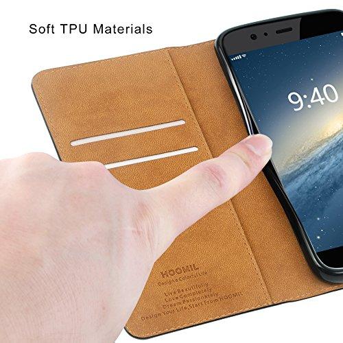 HOOMIL Handyhülle für Huawei P10 Hülle, Premium PU Leder Flip Schutzhülle für Huawei P10 Tasche, Schwarz - 6
