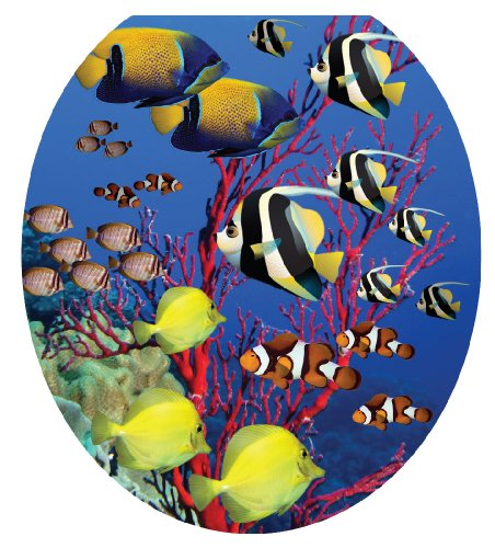 Toilet Tattoos, Toilet Seat Cover Decal, Coral Reef Fish, Size Round/standard