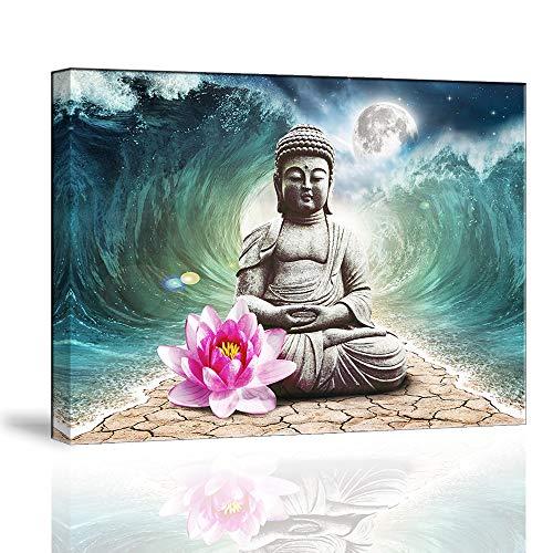 Piy Painting Cuadro sobre Lienzo Imagen de Figura de Buda Flor de Loto Rosa Zen Te Bendiga con Seguridad Canvas Wall Art Listo para Colgar Impresión de la Lona para Sala Comedor Cocina 30x40cm