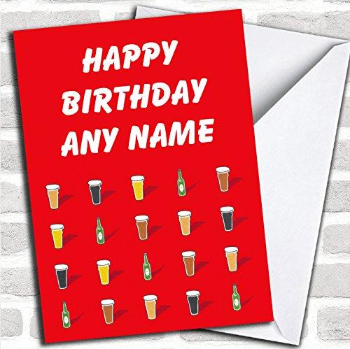 Bier en Lager verjaardagskaart met envelop, volledig gepersonaliseerd, snel en gratis verzonden