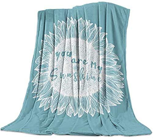 Manta de franela de forro polar, diseño de girasol You are My Sunshine, color blanco y gris, suave manta de peluche ligera para sofá cama para todas las estaciones, 50 x 60 pulgadas