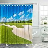 Cortina de ducha para bebé, cortinas de ducha para baño Cortina de ducha elegante Arena El hermoso campo de golf Resort mexicano de lujo Bahía Príncipe Cortina de ducha linda Cortina de ducha para niñ