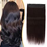 Silk-co Monobande Extension Clip Naturel Une Pièce 5 Clips Rajout Cheveux Clip Naturel Lisse Volume Epais Cheveux Humains Naturel 12 Pouces, 2 Brun Foncé