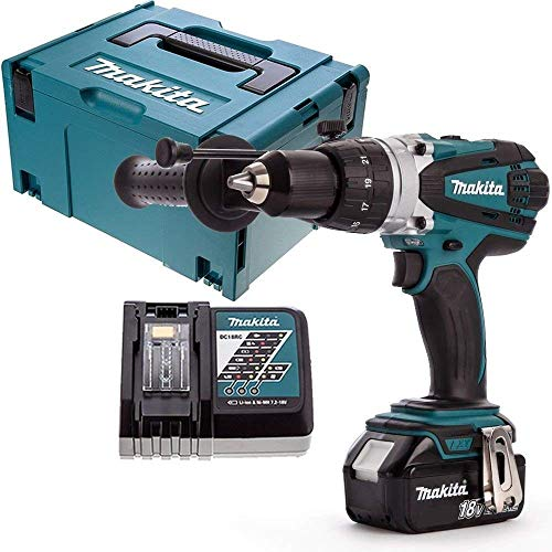 Makita DHP458Z 18V Cordless Combi Drill with 1 x 3Ah Battery, Charger, Case & Inlay