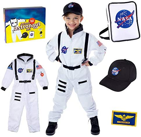Born Toys Premium Deluxe Astronaut Costume for Kids ages 3 7 with Nasa Bag and Hat product image