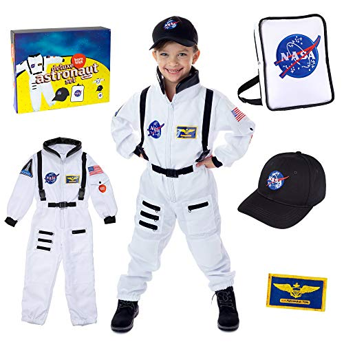 Born Toys Premium Deluxe Astronaut Costume for Kids ages 3-7 with Nasa Bag and Hat