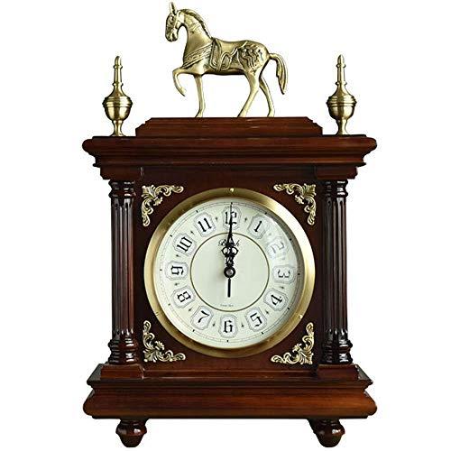 Daglig utrustning Bronsklocka Koppar Hästklocka Vardagsrum Villa Bordsklocka Stäng Klassisk sittande klocka Skrivbord Hylla Klocka för sovrum Vardagsrumsdekor