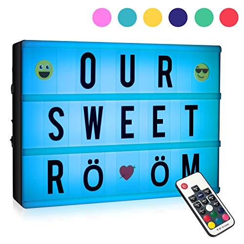 Caja de luces para cine con 120 letras, tamaño A4, RGB LED, con mando a distancia inalámbrico, 7 colores