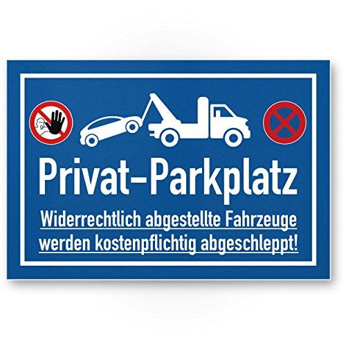 Parcheggio Privato segno–divieto di sosta (blu, 30x 20cm), pittogramma, segno di proibizione, segno di parcheggio–Attenzione auto e veicoli, segnale di avvertimento–Parcheggio freihalten