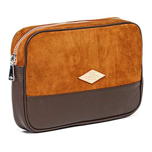 Bob Carlton – Bolso para hombre de negocios 29 x 19 x 4 cm – Bolso de piel – Elegancia informal (oso de avellana y cuero granulado)