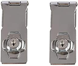 MUMA Padlock And Key Hasp Staple With Knob Locking Safety Door Clasp Gate Lock Latch Size : 3 inch For Locking Shed Doors Cabinets Boxes Furniture