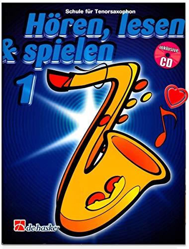 Hören, Lesen a Spielen Band 1 - Schule für Tenorsaxophon von Jaap Kastelein, Michiel Oldenkamp mit CD und bunter herzförmiger Notenklammer