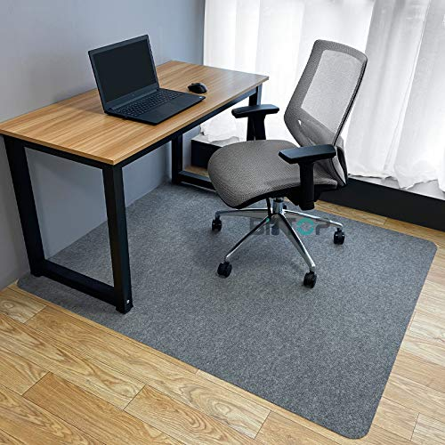 Desk, Chair Mat, 63.0 x 51.2 inches (160 x 130 cm), Thickness 0.2 inches (4 mm), Non Slip, Noise Resistant, Non-Slip Cut, Soundproof, Under Office Chair Mat, Floor Protection Mat, Light Gray