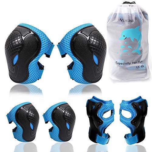 Knieschoner Ellenbogenschoner & Armschoner für Kinder, Kinder Schonersets Verstellbarer Gurt für 3-9 Jahre Radfahren Inline-Skates Rollschuhe Skateboarding & Scooter BMX Bike Sports Schonersets (Blau)