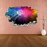 Pegatinas de pared Micrófono Aficionados al concierto Luces de escenario Silueta 3D Etiqueta de la pared Calcomanía mural Murales adhesivos pegatinas de pared 60 * 90CM