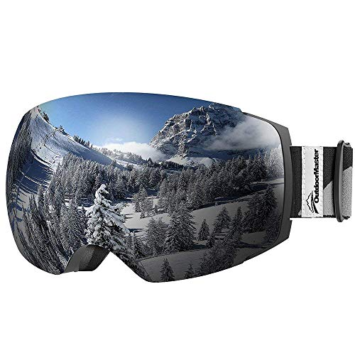 OutdoorMaster Ski Goggles PRO - Frameless, Interchangeable Lens 100% UV400 Protection Snow Goggles for Men & Women (VLT 10% Grey Lens Free Protective Case)