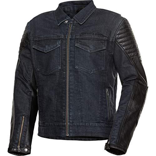 Spirit Motors Chaqueta de motorista con protectores, chaqueta de piel y tela 1.0, negro/azul, L, para hombre, Chopper/Cruiser, todo el año, marrón