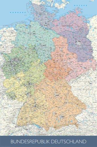 Landkarten - Politische Deutschlandkarte - Maßstab: 1/1 Mio. Plakat Poster Druck - Grösse cm