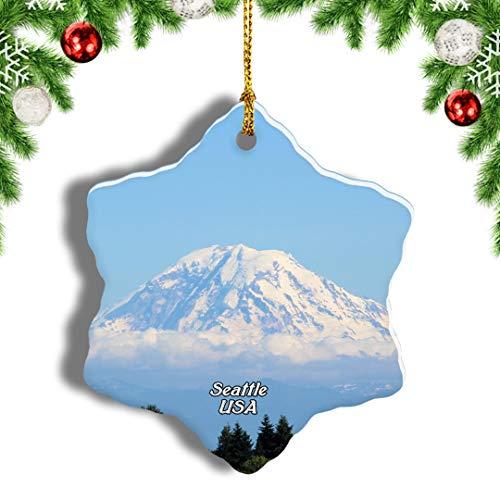 Weekino America USA Mount Rainier Seattle Christmas Ornament Travel Souvenir Tree Hanging Pendant Decoration Porcelain 989' Double Sided