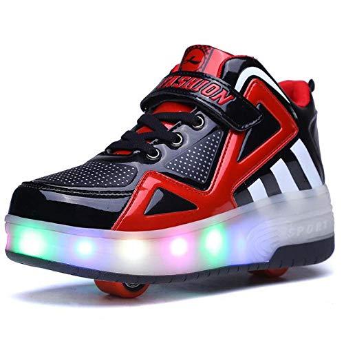 YURU Rollschuhe Schuhe Blinkende Turnschuhe , Mädchen Jungen Rollschuhe Kinder Radschuhe LED Rollschuhe,Blue-EU32