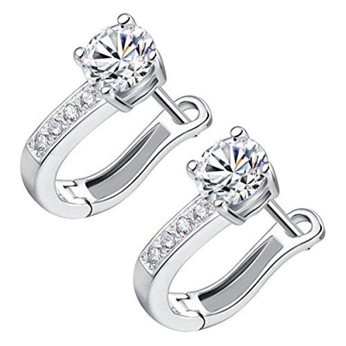 GWG Jewellery Pendientes Mujer Regalo Pendientes, Chapados en Plata de Ley Aro Decorado con Cristal y Fila de Piedras Blancas Abajo para Mujeres