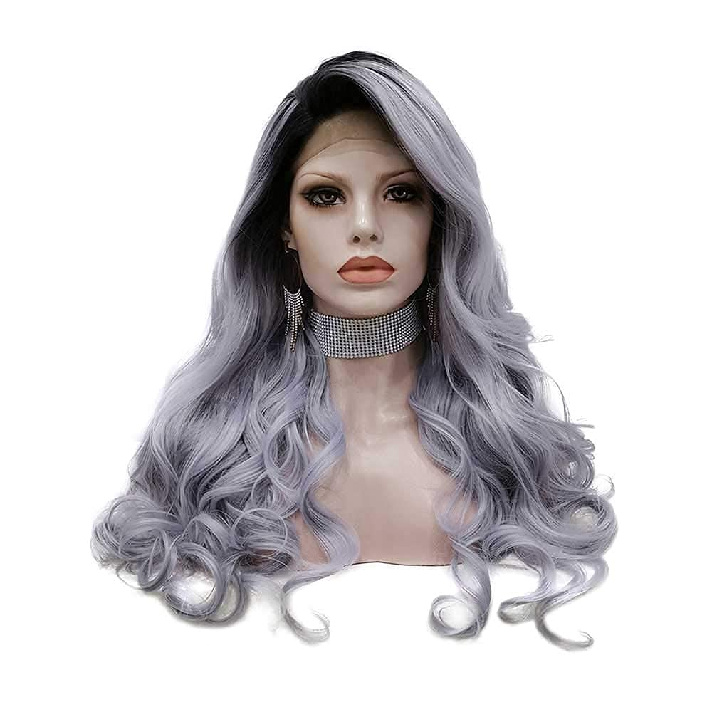 PINKSHOW Ombre Grey Body Wavy Wigs Lac for Lowest price challenge Women Dark Nippon regular agency Roots Long