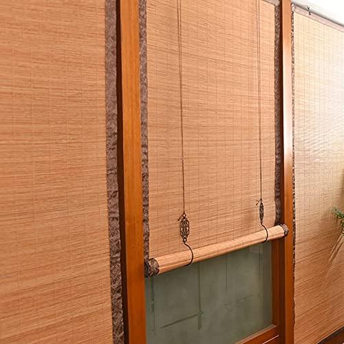 FASZFSAF Bambus Rollo, Jalousien VerdunkelungsvorhäNge Schatten Tageslicht Naturfenster Passagier SonnEnschirme, Wasserdichtes Uv-Schutzlicht Filterung Aufrollen mit,1.2 * 2.5m