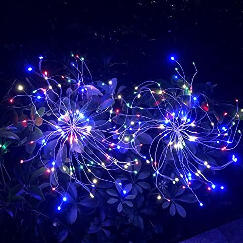 LUOWAN 2 x Solari Esterno Giardino Lampade, 120 LED Solari Fuochi-artificio Luce Decorative Illuminazione, DIY la Forma Della Lampada, per Patio, Prato, Balcone, Feste,Decorazione Natalizia